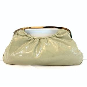 Express Tan Faux Patent Leather Clutch Silver